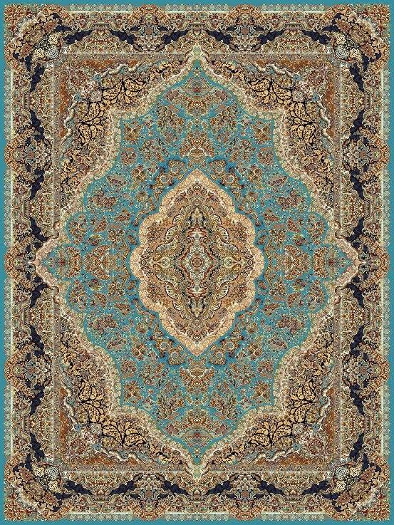 فرش نگین مشهد طرح 1003 1000 شانه آبی فیروزه ای رنگ