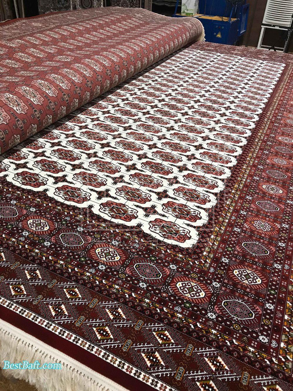 فرش ترکمن سفید حاشیه لاکی 1000 شانه