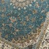 فرش زمرد مشهد کد 14000 آبی فیروزه ای 700 شانه