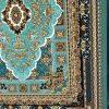 فرش نگین مشهد 1000 شانه ابی فیروزه ای طرح 1008 برجسته