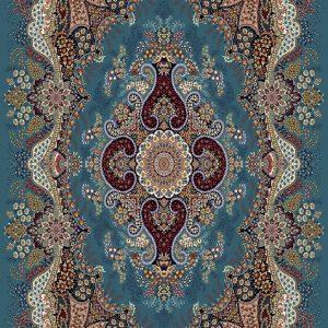 فرش نگین مشهد 700 شانه طرح 2592 آبی فیروزه ای رنگ