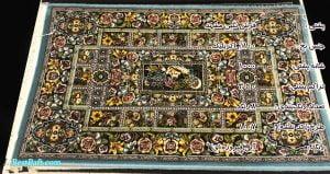 مشخصات، قیمت و خرید پشتی سنتی باغ ارم کد1007 نگین مشهد آبی فیروزه ای 1000 شانه