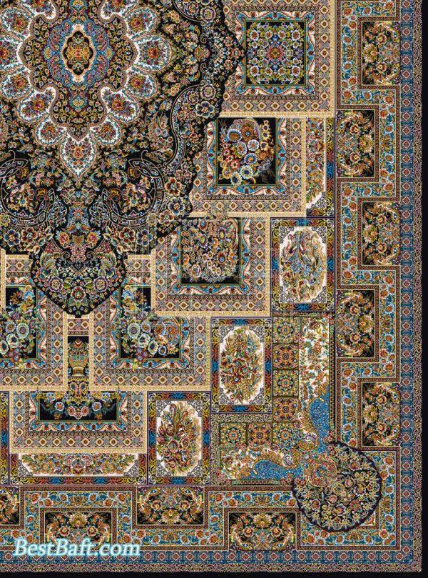 فرش مشهد 1200 شانه کد 802040 سرمه ای