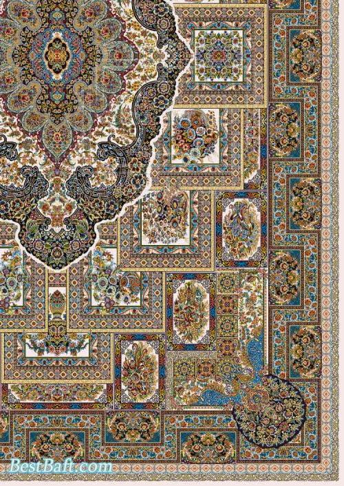 فرش مشهد 1200 شانه کد 802040 کرم رنگ