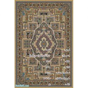 فرش مشهد ۱۲۰۰ شانه طرح ۸۰۲۰۴۰ بژ