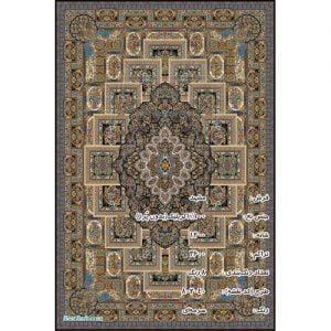 فرش مشهد ۱۲۰۰ شانه سرمه ای طرح ۸۰۲۰۴۰