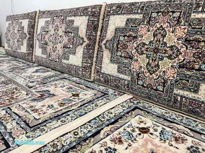 دکوراسیون فرش کرم برجسته زمرد مشهد خرید فرش مشهد
