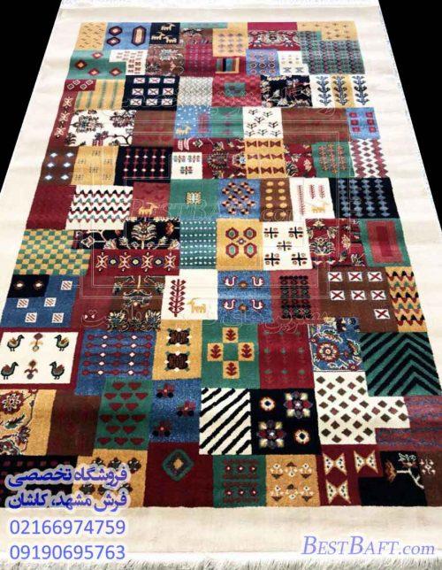 مشخصات، قیمت و خرید فرش گبه ماشینی طرح نیکو کرم رنگ