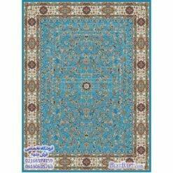 فرش مشهد ۱۲۰۰ شانه آبی فیروزه ای طرح ۸۰۲۰۱۲