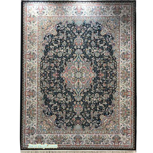 فرش مشهد ۱۲۰۰ شانه کد 802026 سرمه ای