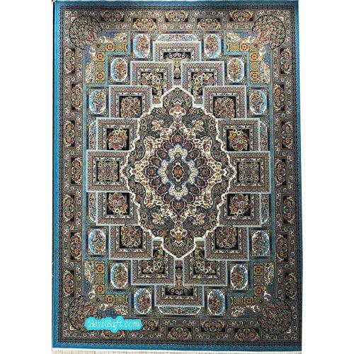 فرش مشهد ۱۲۰۰ شانه کد ۸۰۲۰۴۰ آبی فیروزه ای