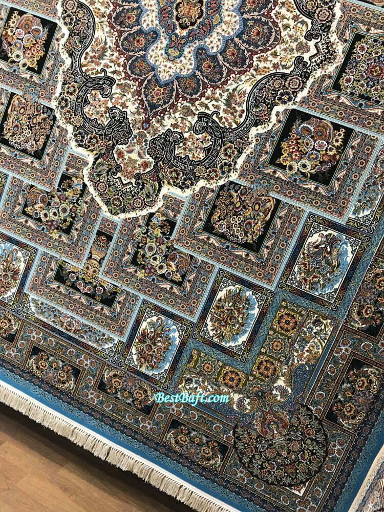 فرش مشهد ۱۲۰۰ شانه کد ۸۰۲۰۴۰ آبی فیروزه ای طرح حوض نقره
