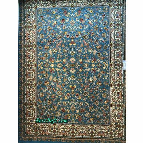 فرش مشهد ۱۲۰۰ شانه کد ۸۰۲۰۳8 آبی فیروزه ای