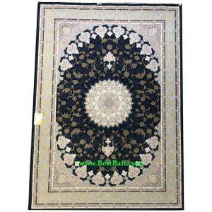 فرش کاشان ۱۵۰۰ شانه اصفهان تراکم ۴۵۰۰ سرمه ای