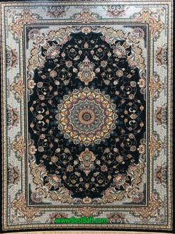 فرش مشهد ۷۰۰ شانه کد ۷۲۲۲۱۶ سرمه ای