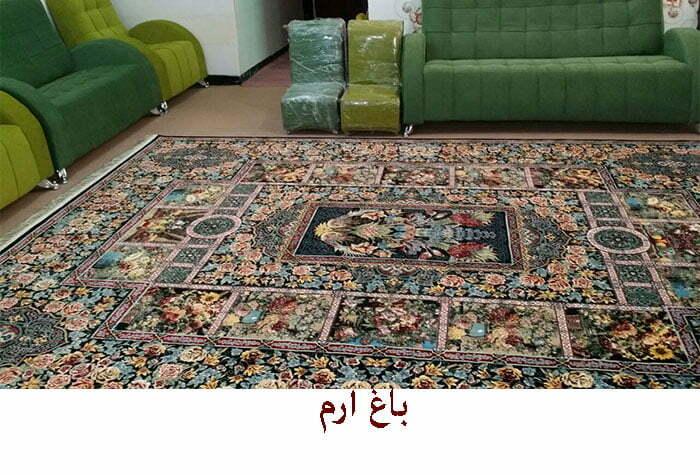 فرش کاشان باغ ارم ۷۰۰ شانه سرمه ای