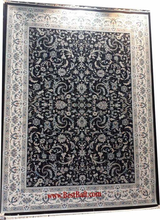فرش مشهد ۱۲۰۰ شانه کد ۸۰۲۰۵۳ سرمه ای